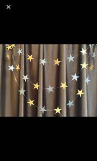 Wholesale price: Non glitter silver and gold star garland