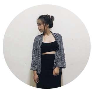 Vintage Blouse & Black Skirt