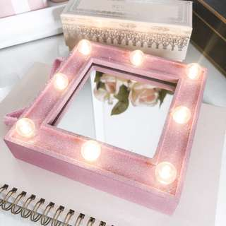 Typo marquee mirror • light up battery operated • iridescent pink • vanity
