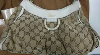 Authentic Gucci D ring Monogram Hobo Bag