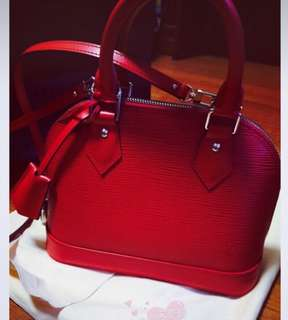 LV Alma BB bag, red color is SG ready stock. Quality is guaranteed.