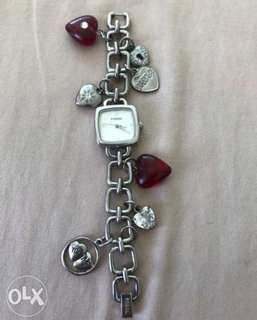 auth FOSSIL watch with heart charms