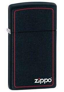 Zippo Slim Lighter Matte Black Red