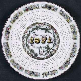 "1971 - WEDGWOOD CALENDAR PLATE - ""Victorian Almanac"""