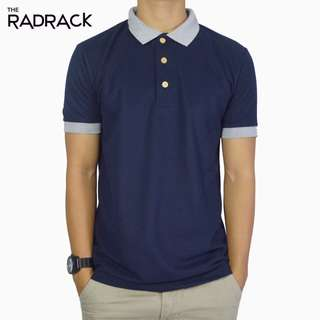Basic Navy Blue Polo T-Shirt (Grey Collar)