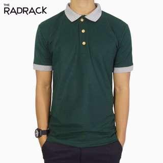 Basic Green Polo T-Shirt (Grey Collar)