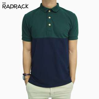 <NEW> Basic Colour Block Polo T-Shirt (Green / Navy Blue)