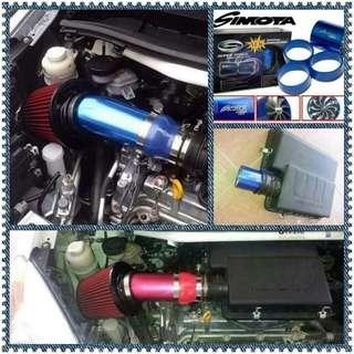 Simota double fan + Aluminium air intake pipe + K&n air filter untuk Perodua Alza & Myvi