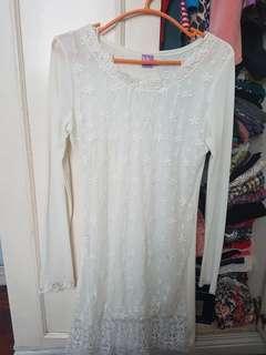 NY Square Chiffon White dress