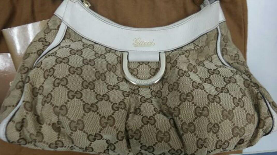 76cec53dccf Authentic Gucci D ring Monogram Hobo Bag