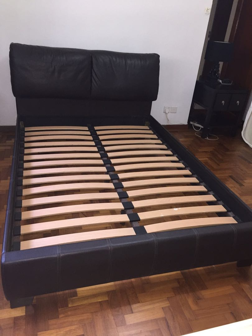 Bed Frame brown leather UK dimensions