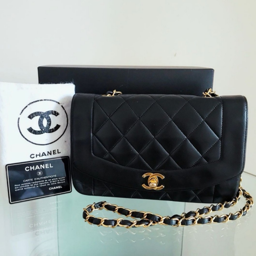770a162151db Complete Set CHANEL Diana Classic Flap Bag 9 inch with 24k Gold ...