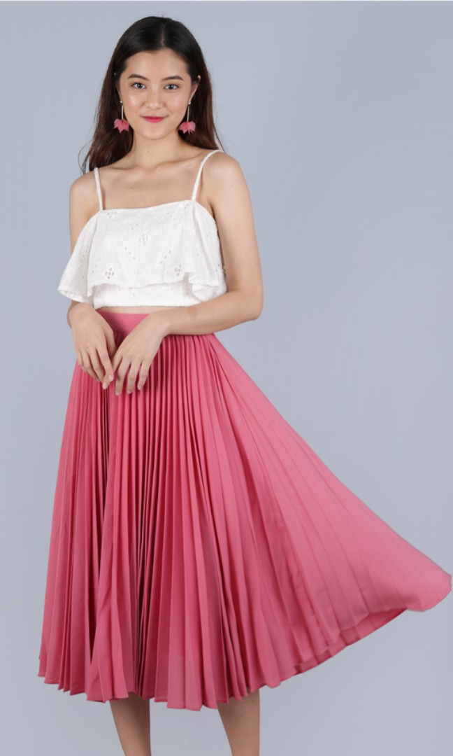 aa5afcaf7 COURTNEY PLEATED MIDI SKIRT (BLOSSOM PINK), Women's Fashion, Clothes ...