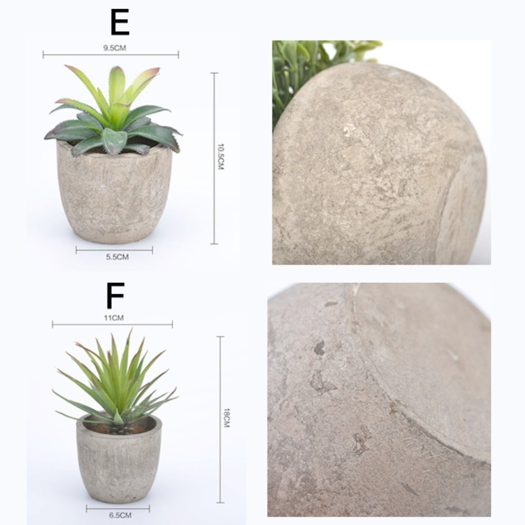 [Great Deal!] Beautiful Artificial Decorative Plant. Fake / Faux Potted Green Plants. With Rustic Concrete Looking Grey Pot.
