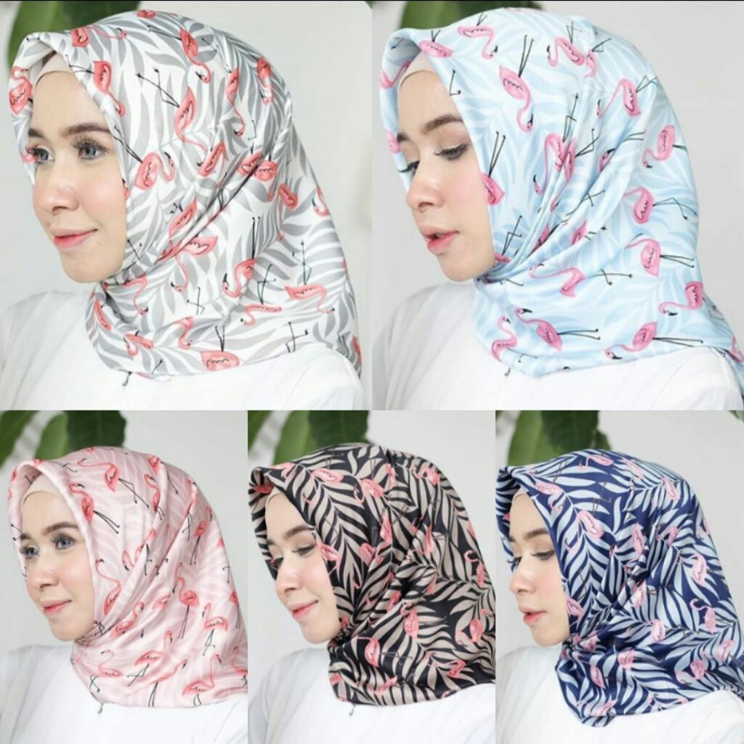 Hijab Segiempat Motif Flamingo Olshop Fashion Olshop Muslim On