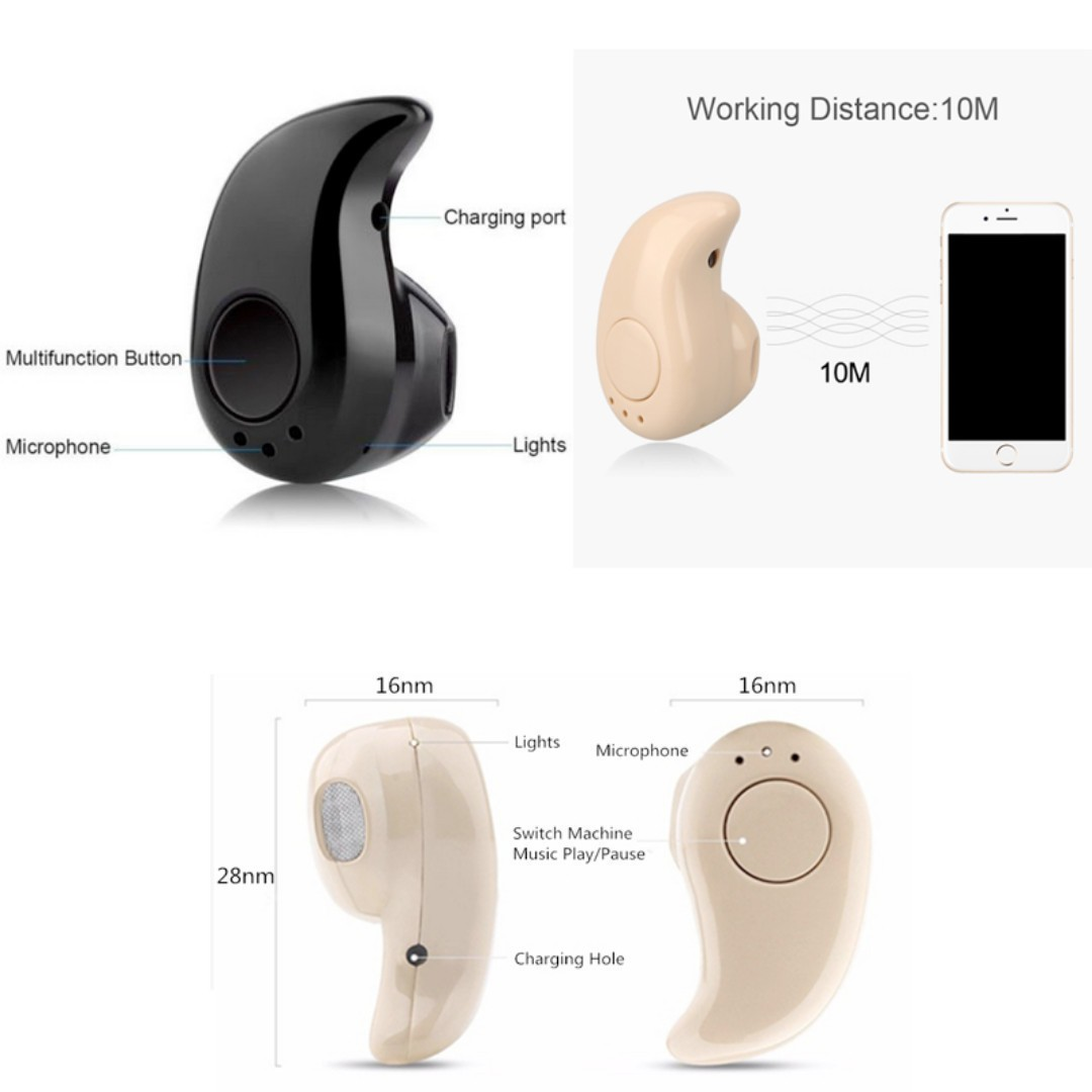 [In Stocks!] Wireless Mini Bluetooth Earpiece. Quality Stereo Sound, Small Cordless Hands-Free Earpiece Earbud Headset.