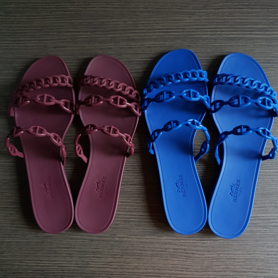 57ebf5eb91a3 New Hermes Rivage Sandals in Bordeaux size 37 and Blue Smalt size 38 ...