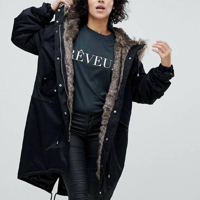 7c3d9208e6 Noisy May oversized parka jacket with faux fur ASOS, Women's Fashion ...