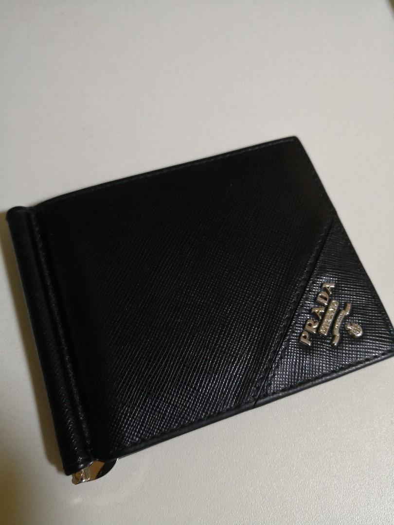7779aee38a36 Prada Saffiano money clip wallet, Men's Fashion, Accessories, Others ...