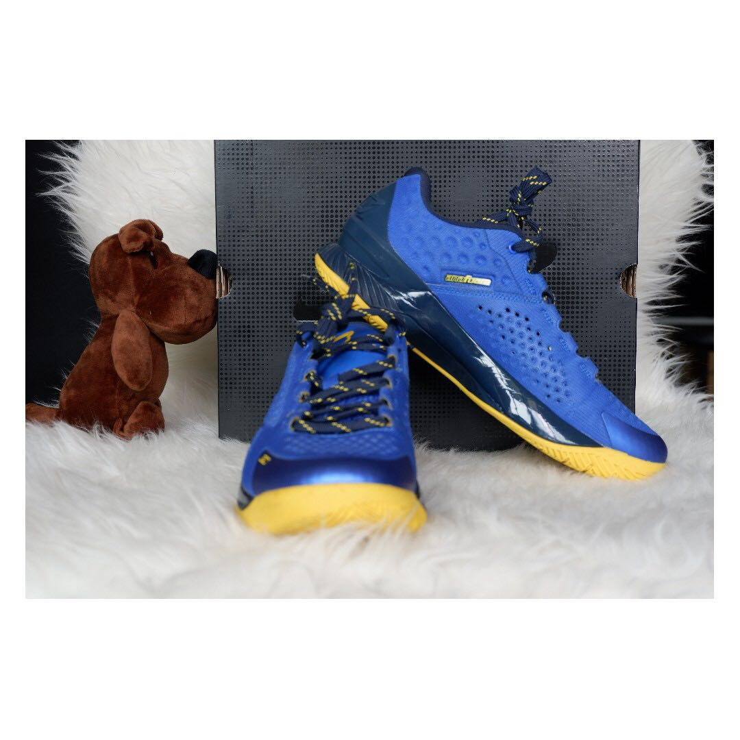 new styles bc994 3f153 UA Curry 2 Low 'Away' Colourway Yellow/Blue US 8.5