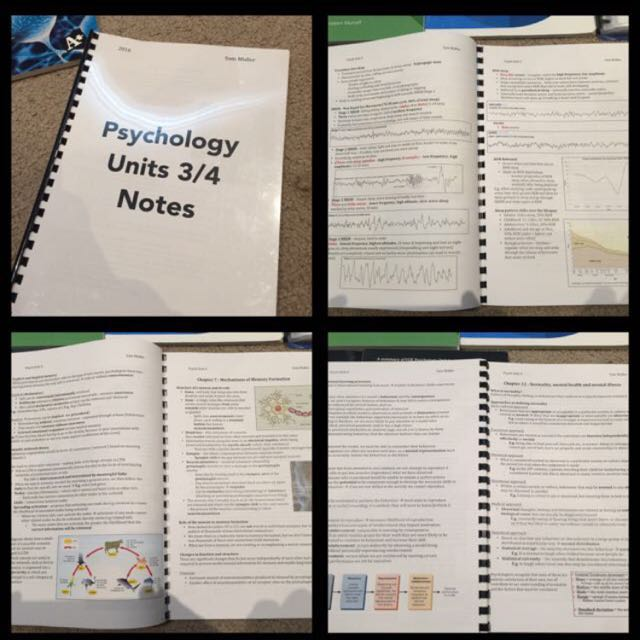 VCE Psychology 3/4 Notes, Sacs, Practice Exams, Cue Cards