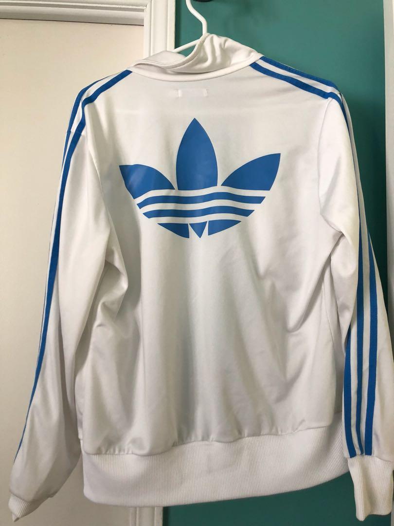 White Adidas Jacket with Light Blue Stripes