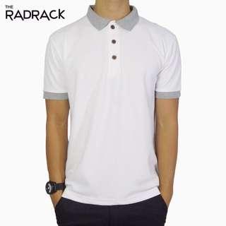 Basic White Polo T-Shirt (Grey Collar)