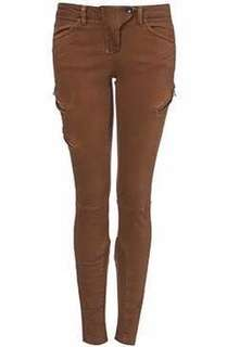 Top Shop Brown Zipped Jeans