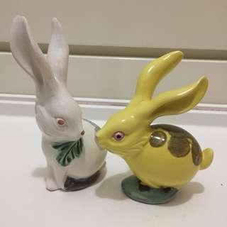 80年代 一對兔子 陶瓷公仔