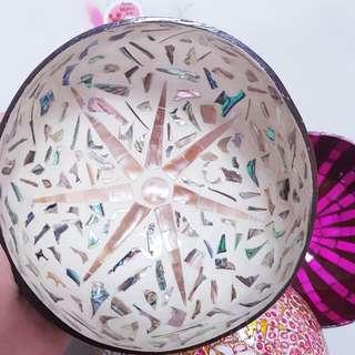 🚚 國外帶回 花紋美美ㄉ 椰子殼的碗 盤 置物盒 置物籃 盆栽 花瓶