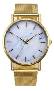PO Stainless Steel Watch with Marble Motif