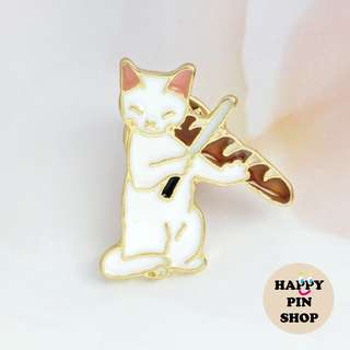 Cat & The Fiddle Enamel Pin (Cats Acting Like Humans series)