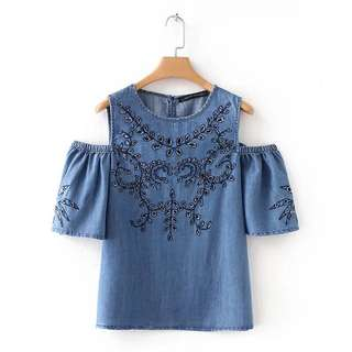 Europe and the United States short-sleeved round neck hollow embroidery strapless tops