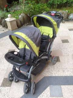 baby trend 雙人推車 12合一 可裝手提搖籃 雙寶神器 附遮陽罩 附雨罩