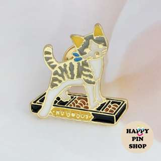 Kitty & Her Abacus Enamel Pin (Cats Acting Like Humans series)