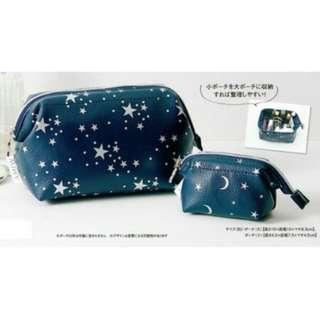 🚚 In Red 藍色星星 化妝包 收納包 萬用包 筆袋 零錢包