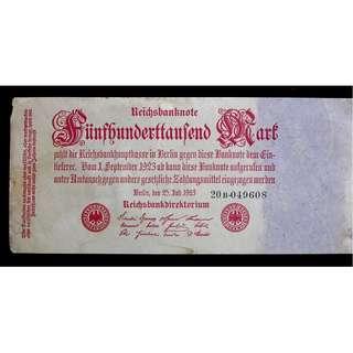 1923年德意志銀行500,000馬克鈔票(威瑪政府時期, 嚴重貶值時期)