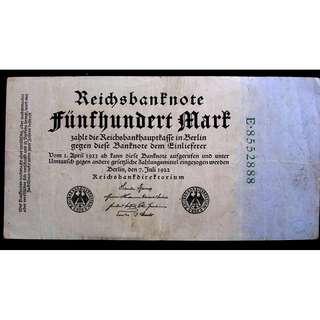 1922年德意志銀行500馬克鈔票(威瑪政府時期, )