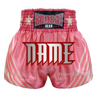 Customize Kombat Gear Muay Thai Boxing MMA Shorts Pink Stars w White Stripes