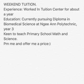 Weekdays or weekend tuition