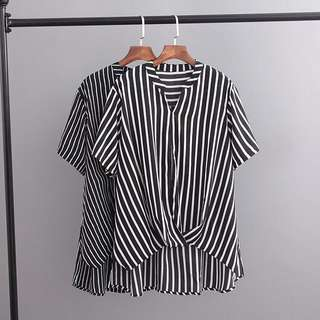 (XL~3XL) Short-sleeved T-shirt with 2018 vertical stripes