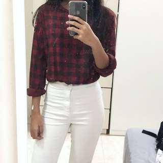 ZARA checkered longsleeve top