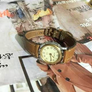 中古 Hermes 圓款 女裝皮錶 Hermes Light Brown Leather vintage watch
