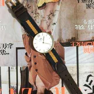 Daniel Wellington Grace Collection 絕版 手錶 navy yellow leather canvas style