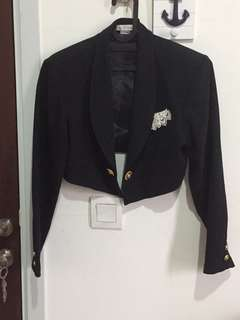Black Crop Blazer with White Lace