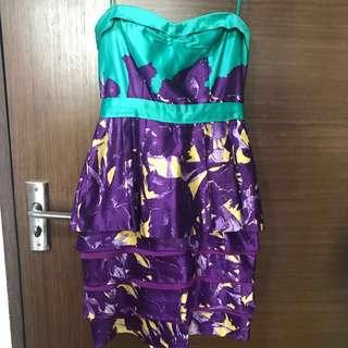 BCBG MAXAZRIA Prom Dress Bustier Corset Strapless Tiered Peplum Purple