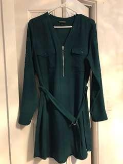 Dark green Express shirt dress, size L. Worn once.