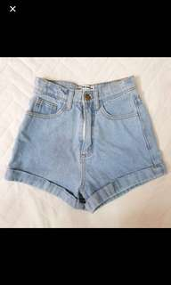 American apparel inspired denim shorts