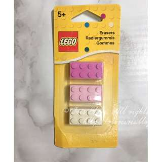 LEGO rubber erasers pink