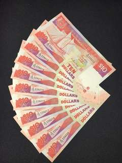 Singapore $10 ship running 10 pieces banknotes